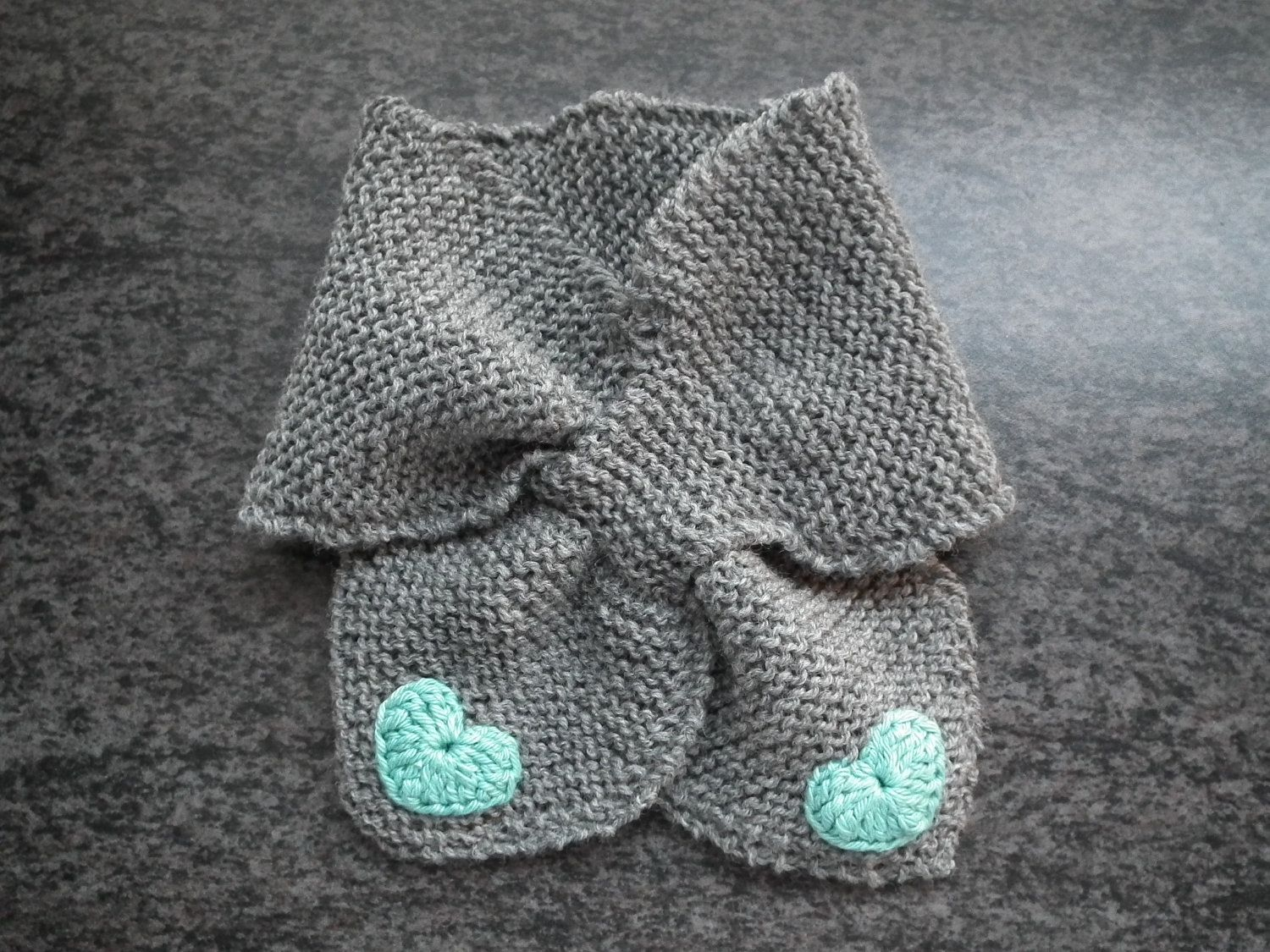 Baby scarf knitted grey merino wool with crocheted hearts bow tie baby scarf knitted grey merino wool with crocheted hearts bow tie 1600 via bankloansurffo Gallery