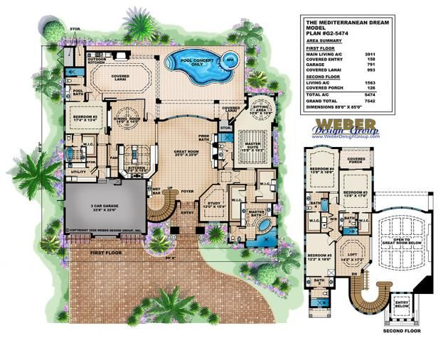 Mediterranean Dream Home Plan Italian Mediterranean Home Floor Plan Mediterranean Style House Plans House Plans With Photos Floor Plan Design