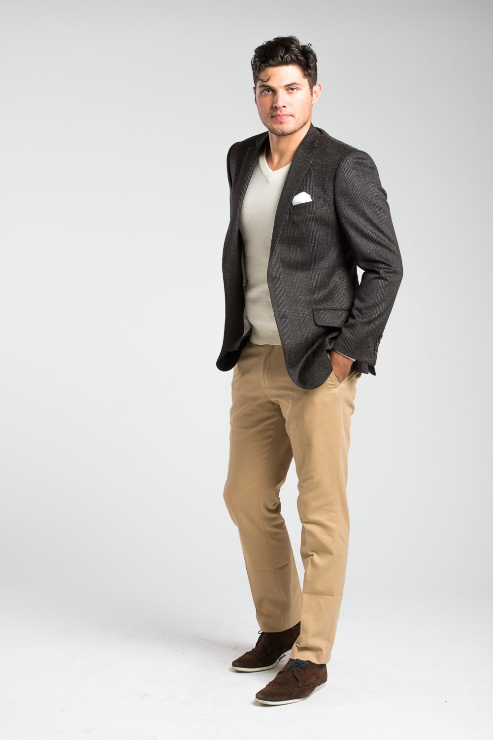 A Wilfred Newman Fawn check sport coat and khaki twill
