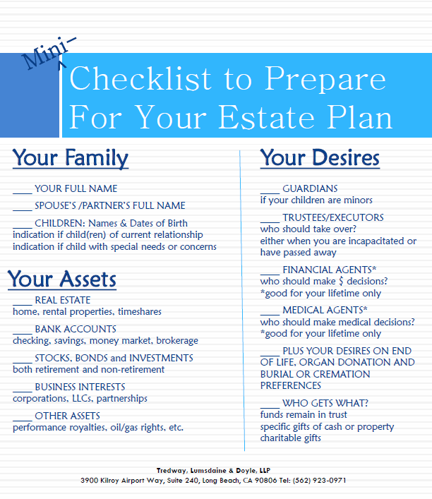 Mini Checklist For Estate Planning  Real Estate Info