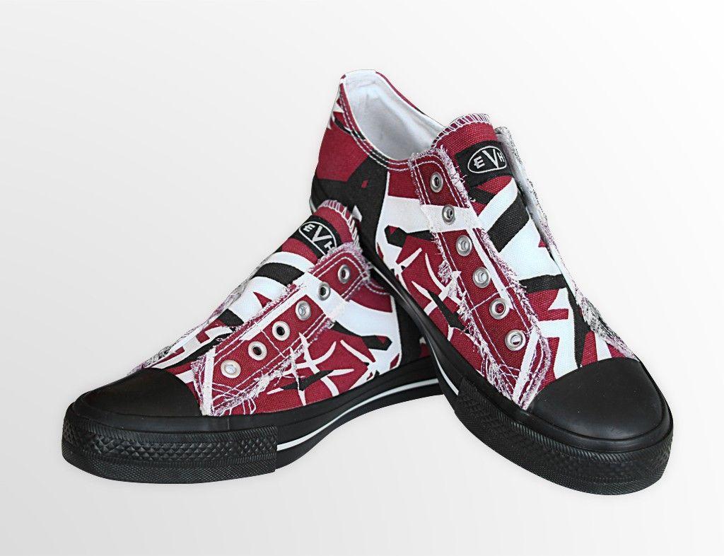 Eddie Van Halen Black Red Distressed Low Top Sneakers Sneakers Van Halen Shoes