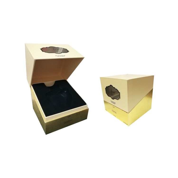 Golden Paper Clamshell Type Luxury Make Up Gift Box Fancy Cardboard