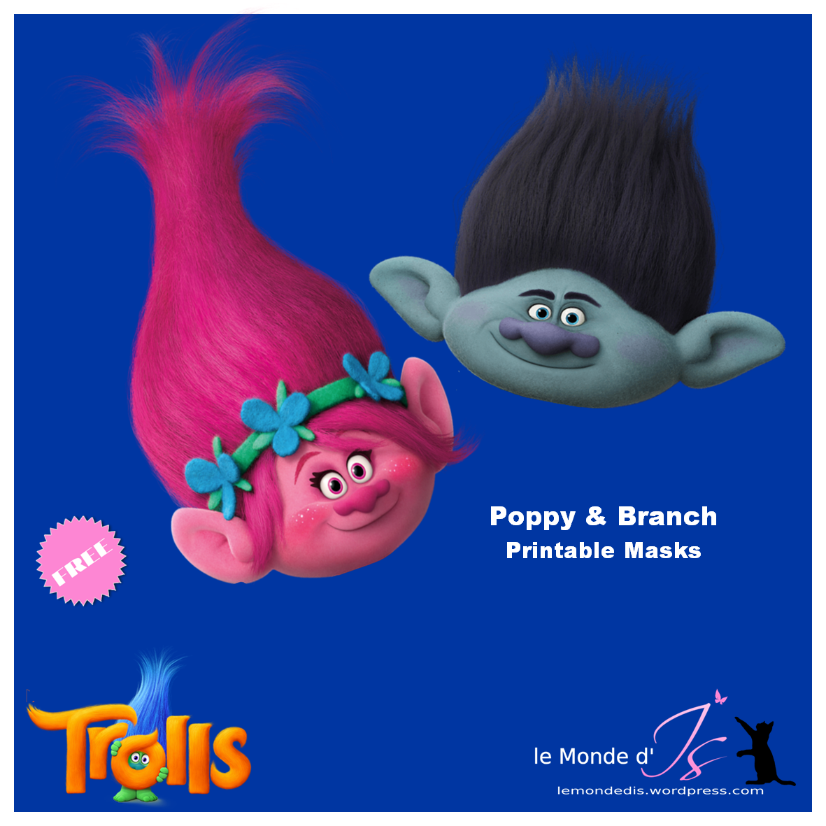 DreamWorks Trolls: free Poppy & Branch Masks | Troll party and ...