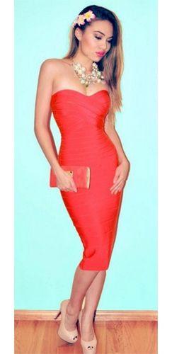 Red Strapless Sweetheart Neck Bandage Bodycon Midi Dress