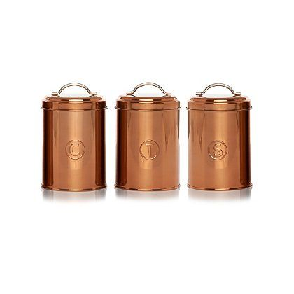 George Home Copper Canister Set Kitchen Storage George At Asda Copper Canisters Canister Sets Copper Kitchen