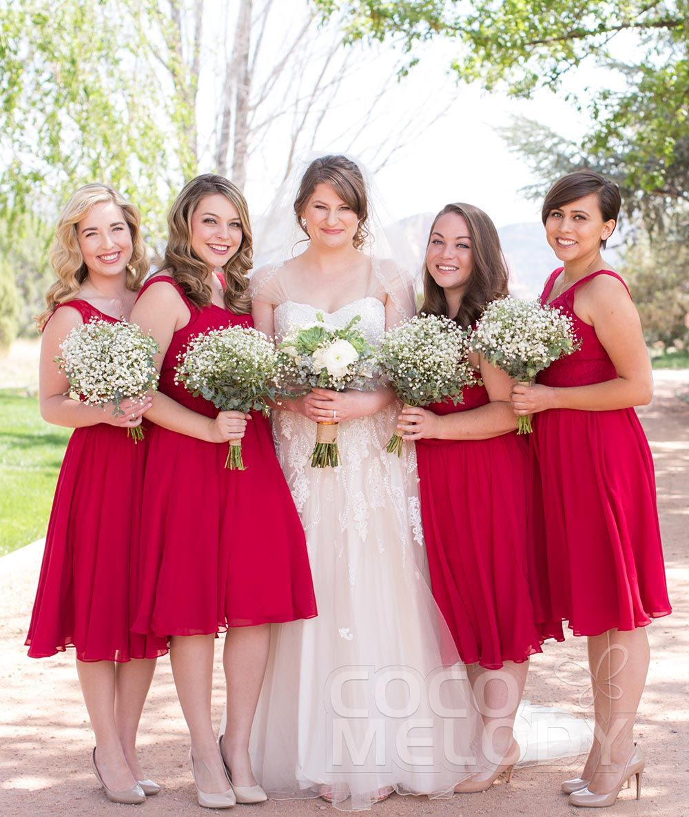 Chic a line v neck natural knee length lacechiffon sleeveless bridesmaid dresses goals really love these girls looks in those red dresses wedding ombrellifo Choice Image