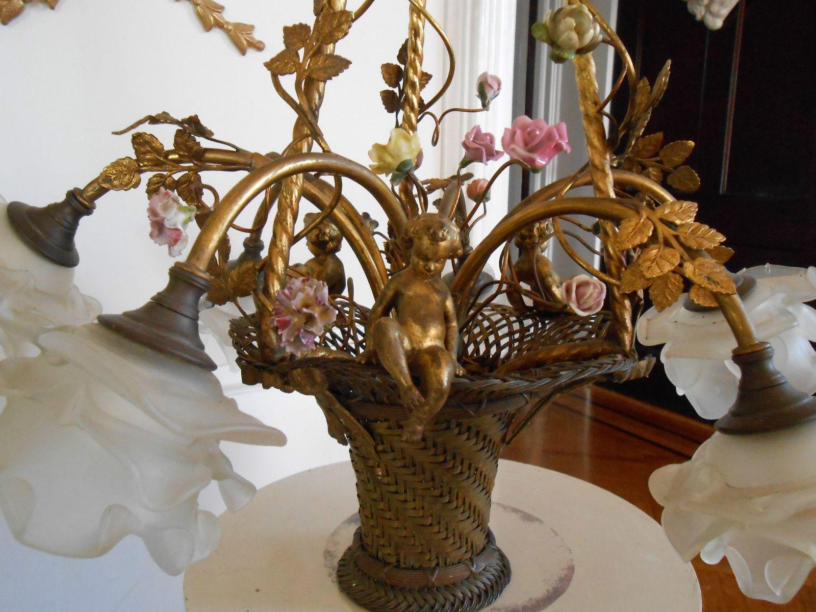 Shabby antique vtg porcelain flower bronze cherub putti chandelier shabby antique vtg porcelain flower bronze cherub putti chandelier french bows arubaitofo Gallery