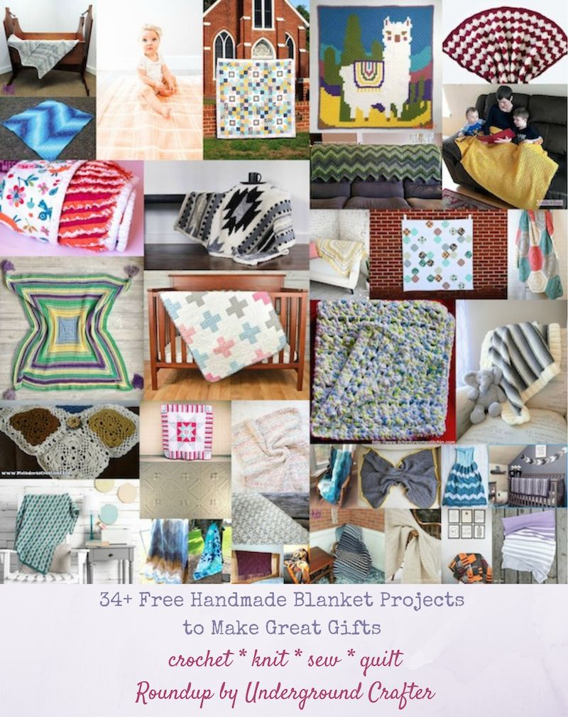 34+ Free Handmade Blanket Projects to Make Great Gifts 34+ Free Handmade Blanket Projects to Make Great Gifts via Underground Crafter | Find your next project in this collection of and patterns and tutorials for blankets, afghans, quilts, and more!