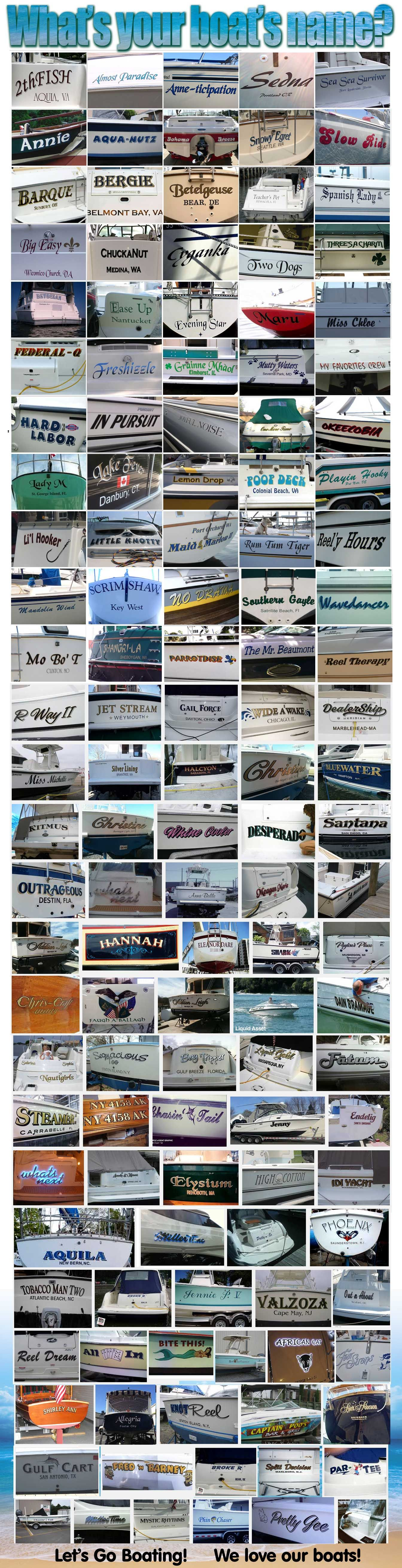 Boat Names We Love Our Boats And Seeing All The Creative Styles Lettering Boatnames
