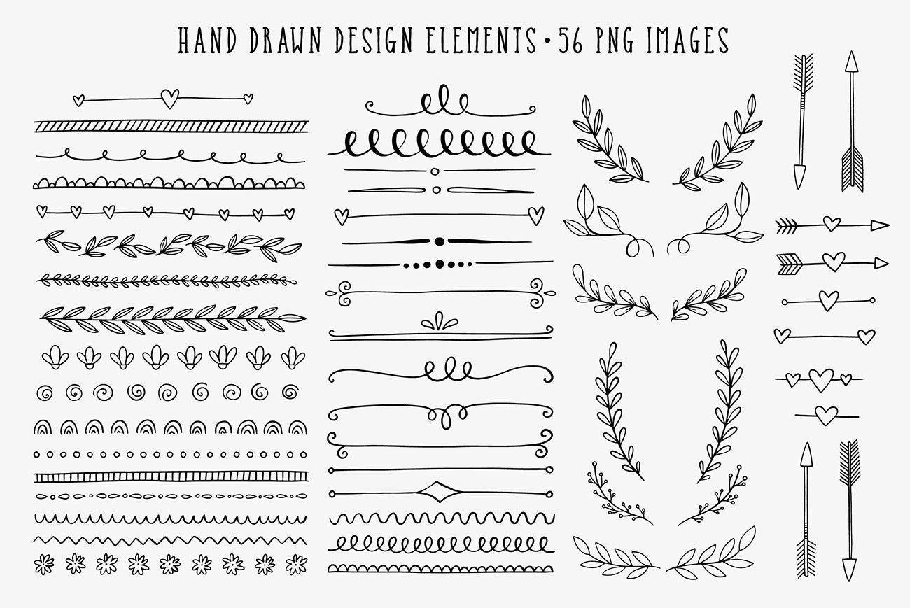 Photo of Hand drawn clipart, frame clip art, design element, dividers, borders, laurel, wreaths, arrows, doodle, commercial use
