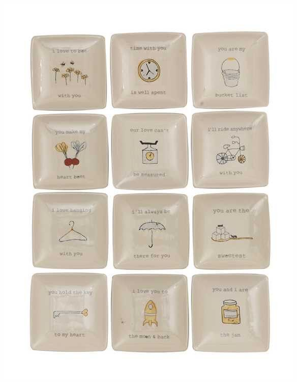 """4"""" Square Stoneware Plates With Sayings,12 Styles"""