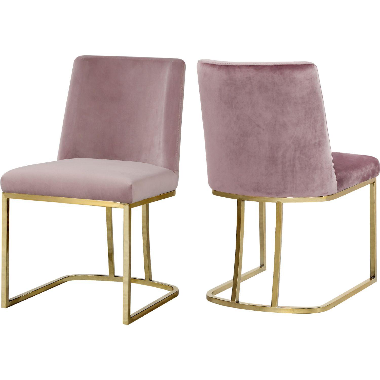 Fine Heidi Dining Chair In Pink Velvet On Gold Base Set Of 2 By Uwap Interior Chair Design Uwaporg