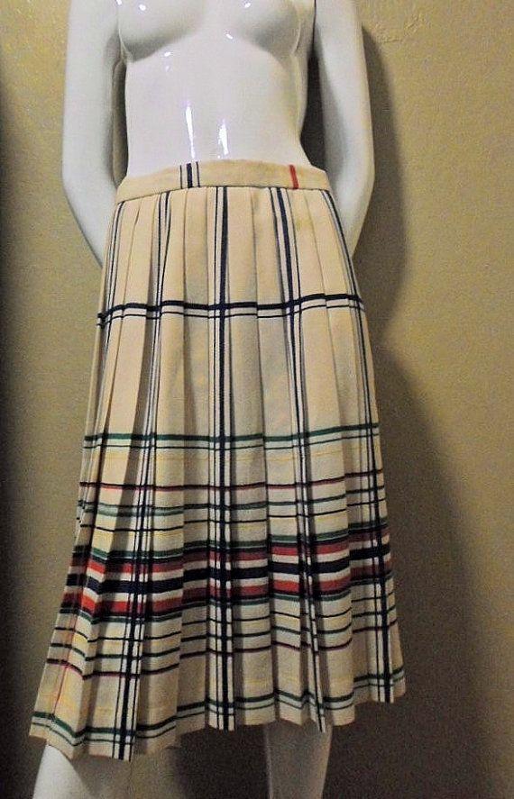 Cool Plaid Vintage 80s Pleated Evan Picone Skirt by trashybeasts, $21.75