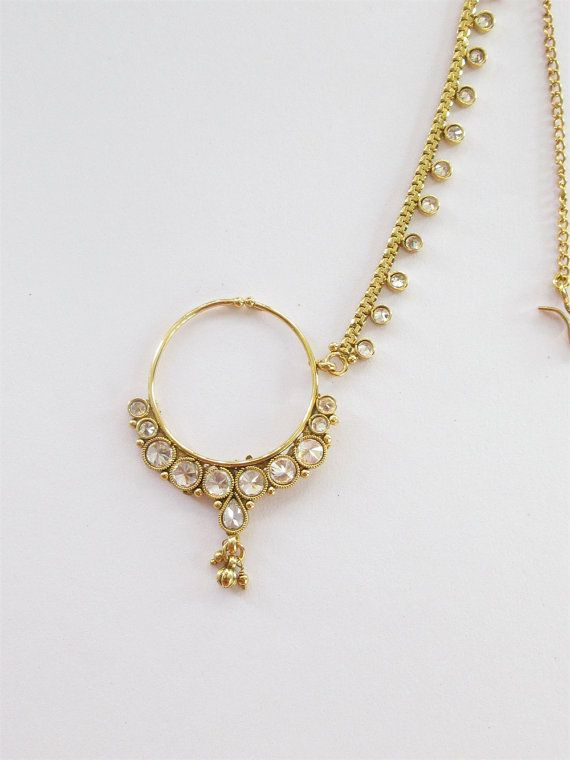 Gold Crystal Nose Ring With Chain South Indian By Beauteshoppe Kundan Jewellery Bridal Bridal Nose Ring Nose Jewelry