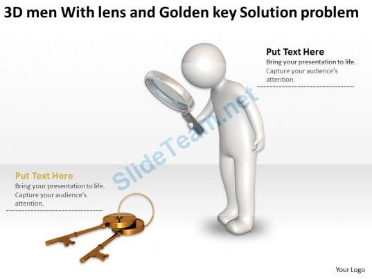 3d Men With Lens And Golden Key Solution Problem Ppt Graphic Icon