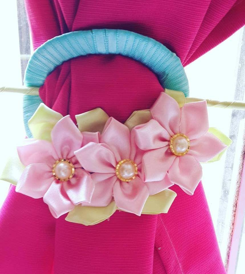 Sujetador prendedor de flores de tela para cortinas con for Cortinas de tela