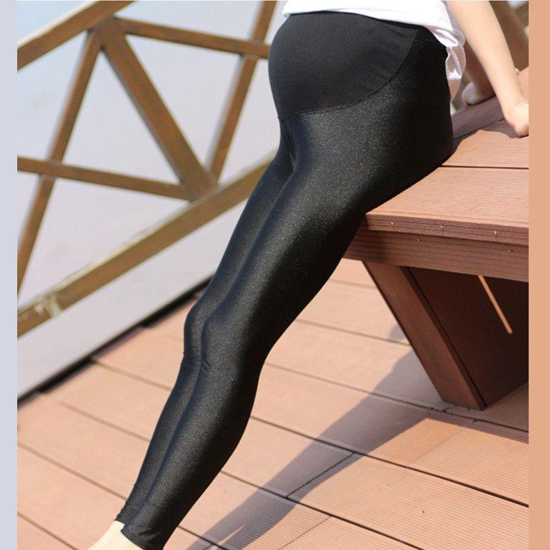 b9ec2a0383188 Black Maternity Shiny Leggings Abdominal Adjustable Pregnant Women Leggings  L Xl