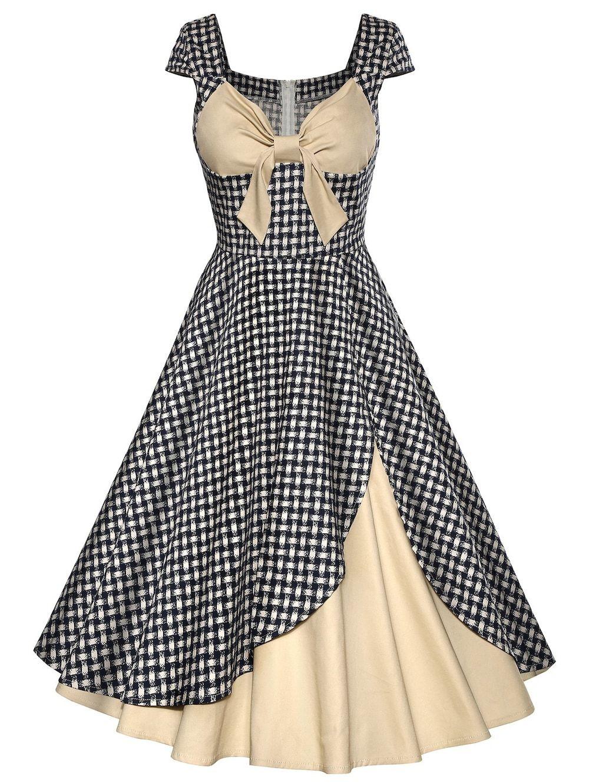 2f843eca1cfd Vintage Plaid Bowknot Design Contrast Panel Dress - APRICOT S ...