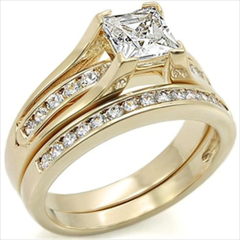 1 5ct Princess Bridal Wedding ring designer fashion Set Stainless