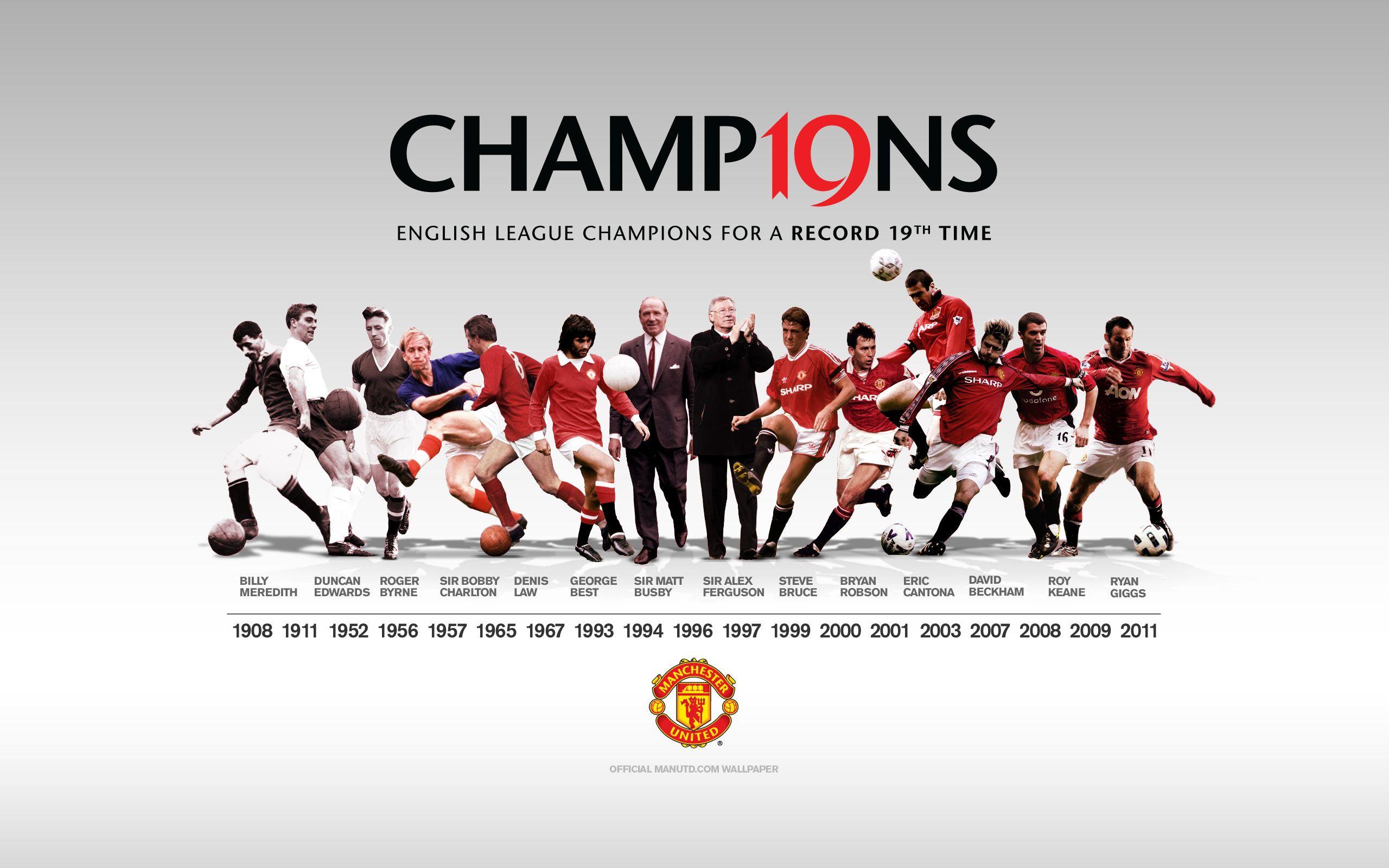 Manchester United 19 Times English Premier League Champions Manchester United Wallpaper Manchester United Champions Manchester United