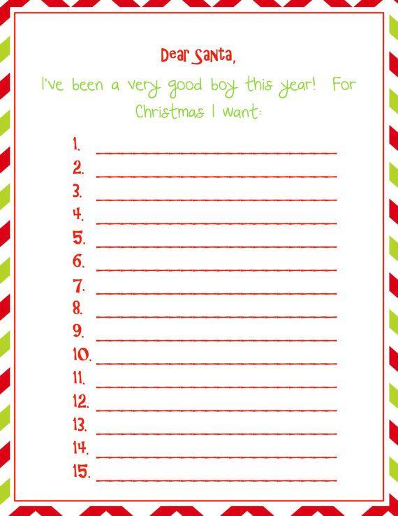 Boys Christmas Wish List - PDF Elf on the shelf Printable-Christmas - printable santa wish list
