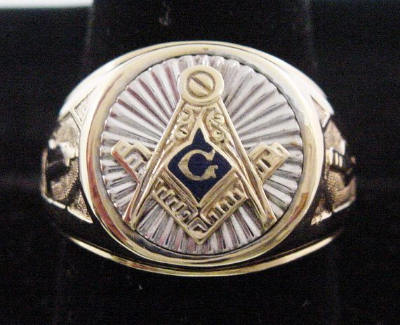 Masonic Ring Gold Mens In Heavy Solid 10k Gold 2 Tone Yellow White Gold Grand Mason S Ring Blue Lodge Ring Masonic Rings Jewelry Masonic Jewelry Masonic Ring
