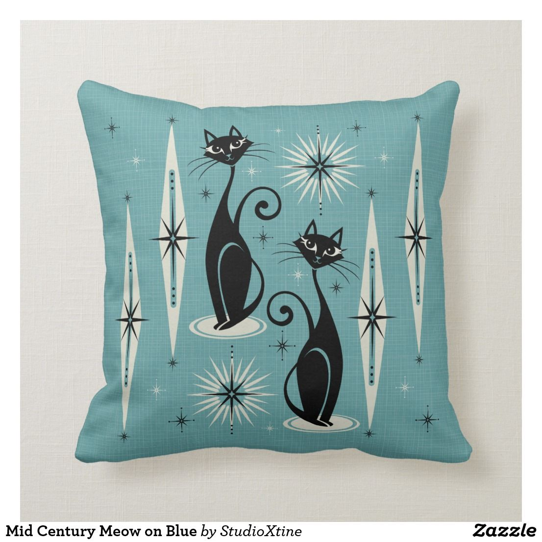 Mid Century Meow on Blue Throw Pillow Blue