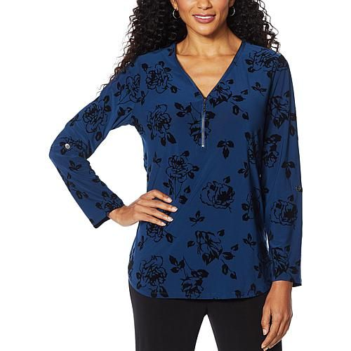 Antthony Design Originals Antthony Foil Print Long-Sleeve Zippered Top - Black