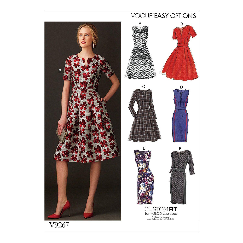 Vogue Patterns Schnittmuster Kleid, Mehrfarbig, Größe 14-22 ...
