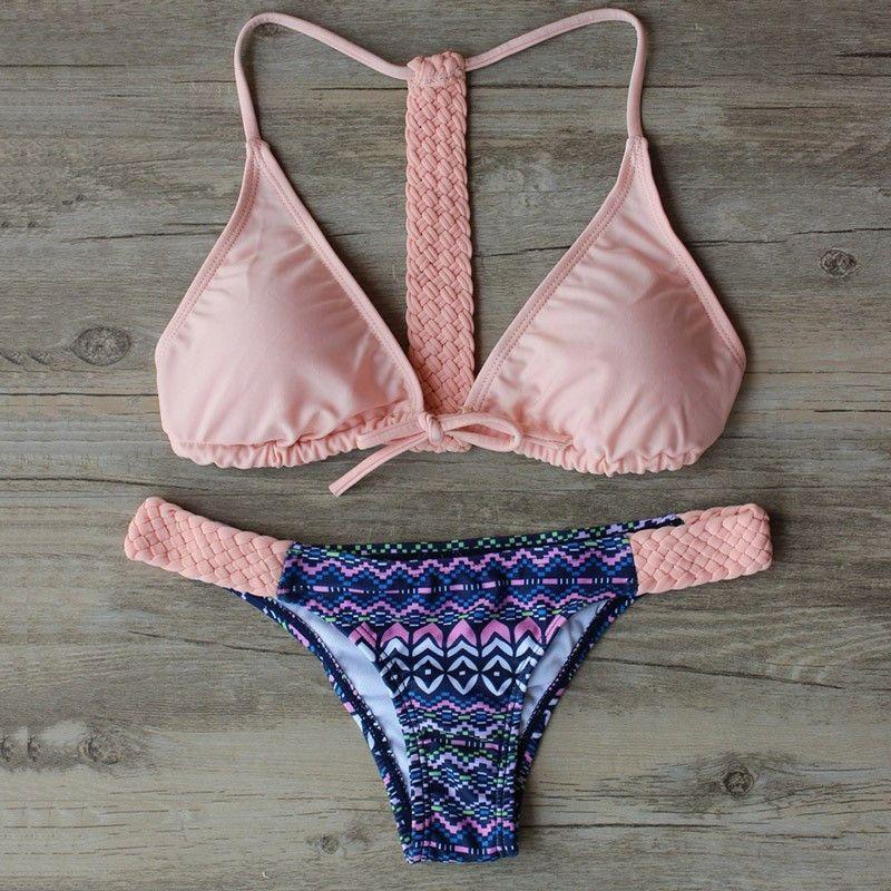 8a0c09fdae7 Print Floral Palm Tree Bikini Set Halter crop top hang High neck Bikinis set  push up