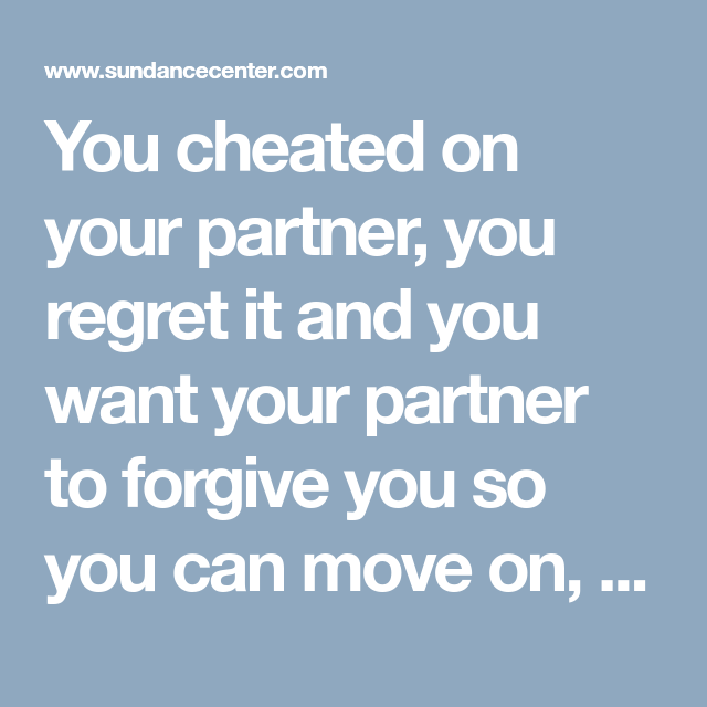 How to get forgiveness after cheating