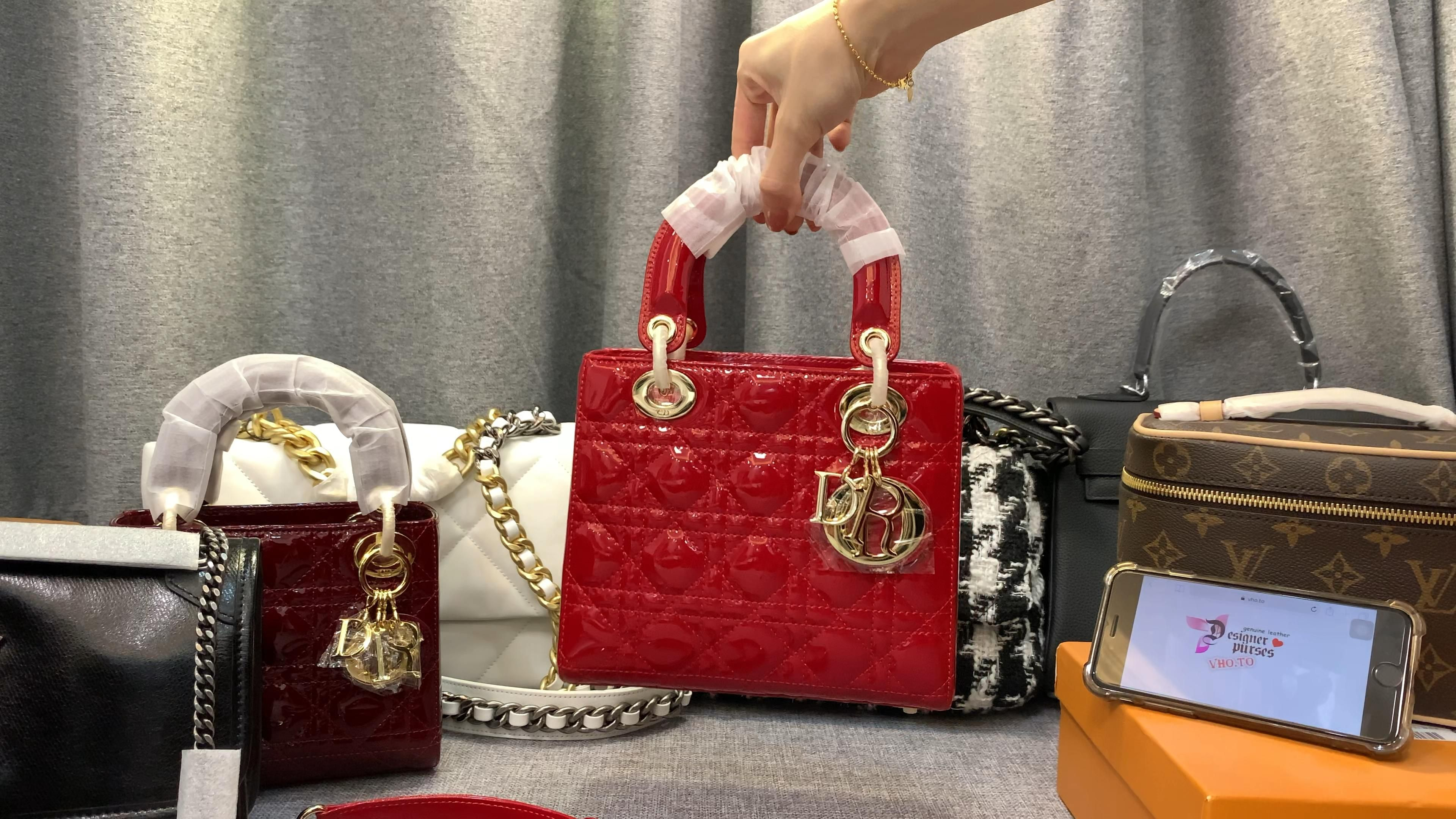 Photo of Dior bag lady Dior patent calfskin new size Red