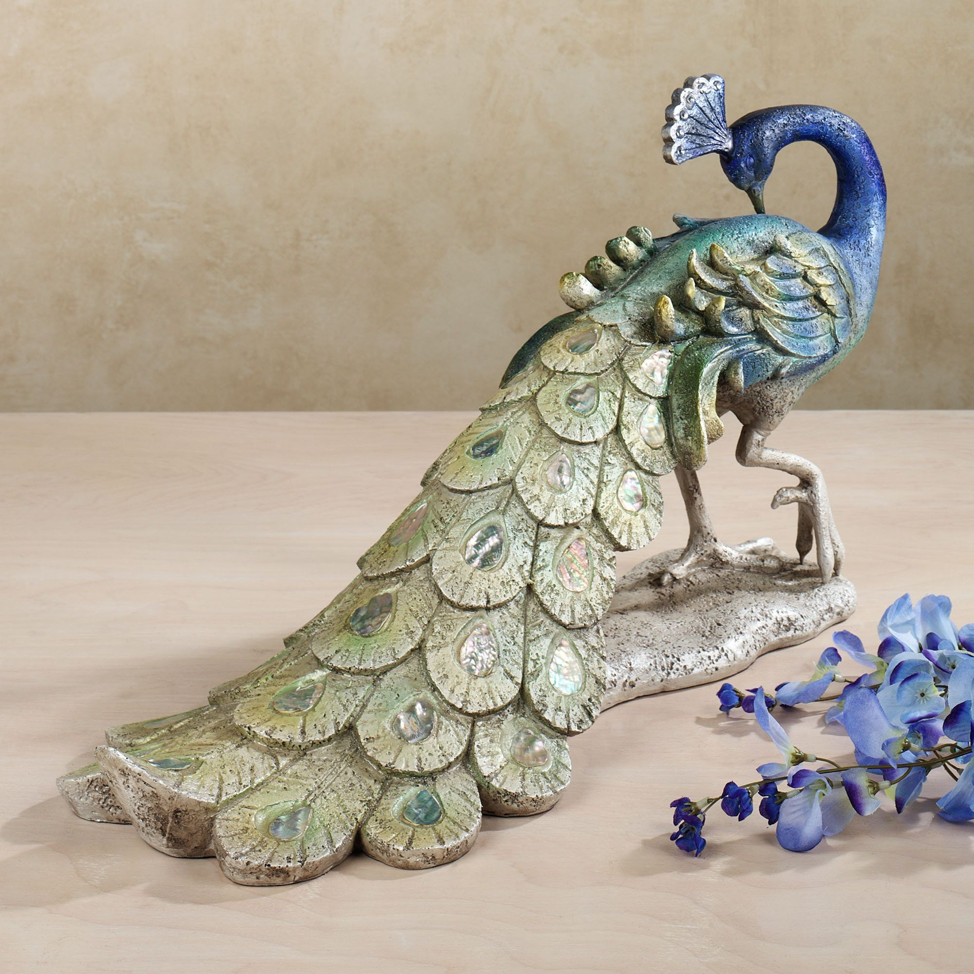 $119 Graceful Peacock at Rest Sculpture