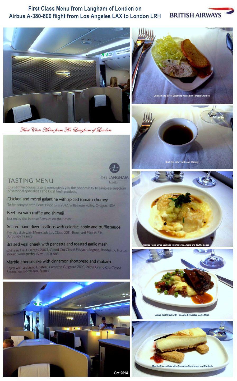 British airways first class menu from langham of london