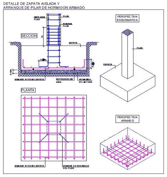 Zapata Aislada Civil Engineering Construction Building Foundation Framing Construction