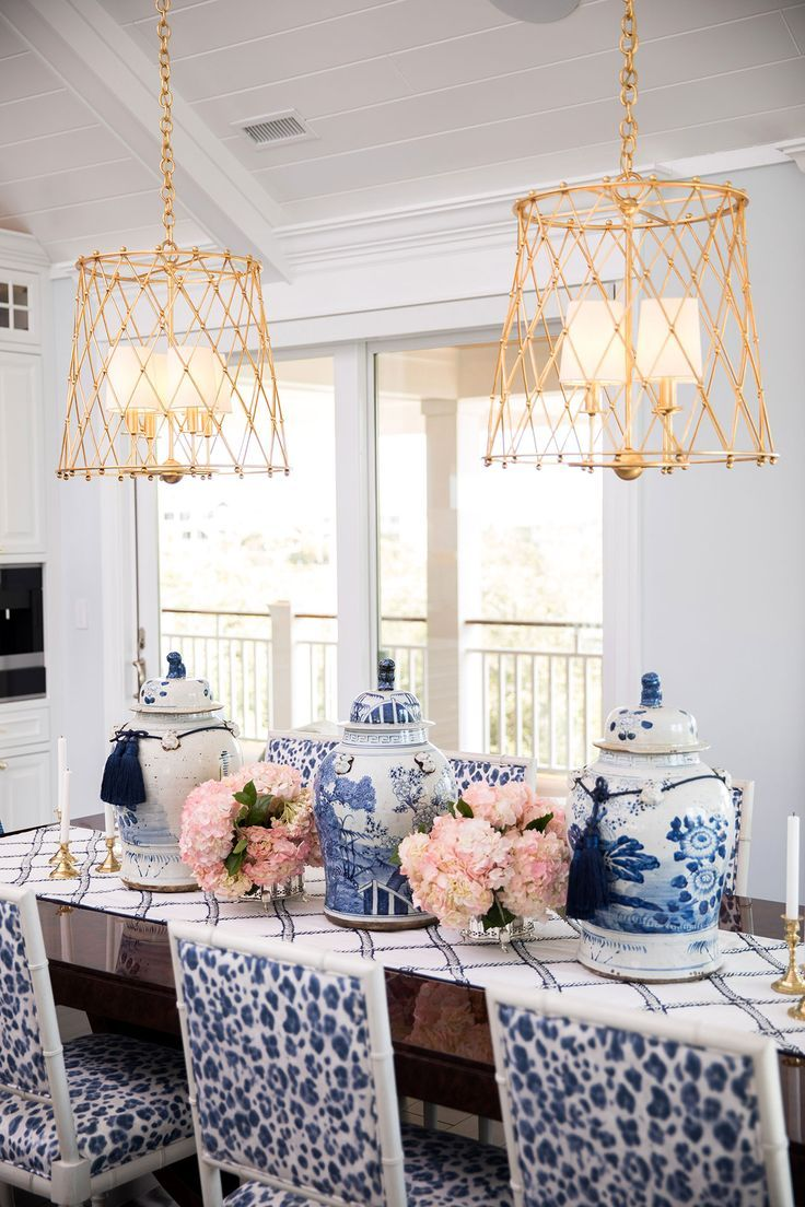 Best Blue And White Dining Room Gold Lighting Coastal 640 x 480