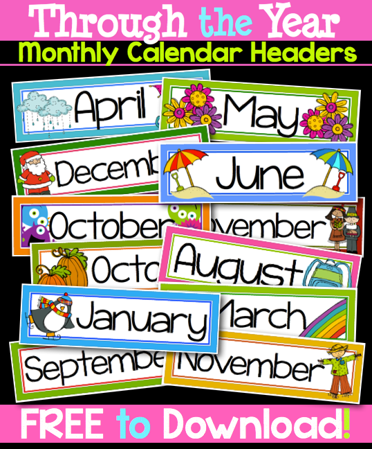 Monthly Calendar Headings : Powers of math face off nbt month labels