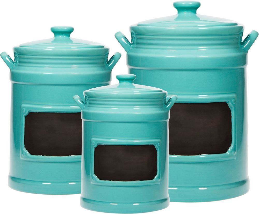 Set 3 Aqua 2-Handle Chalkboard Canister W/Rubber Gaskets by Home ...