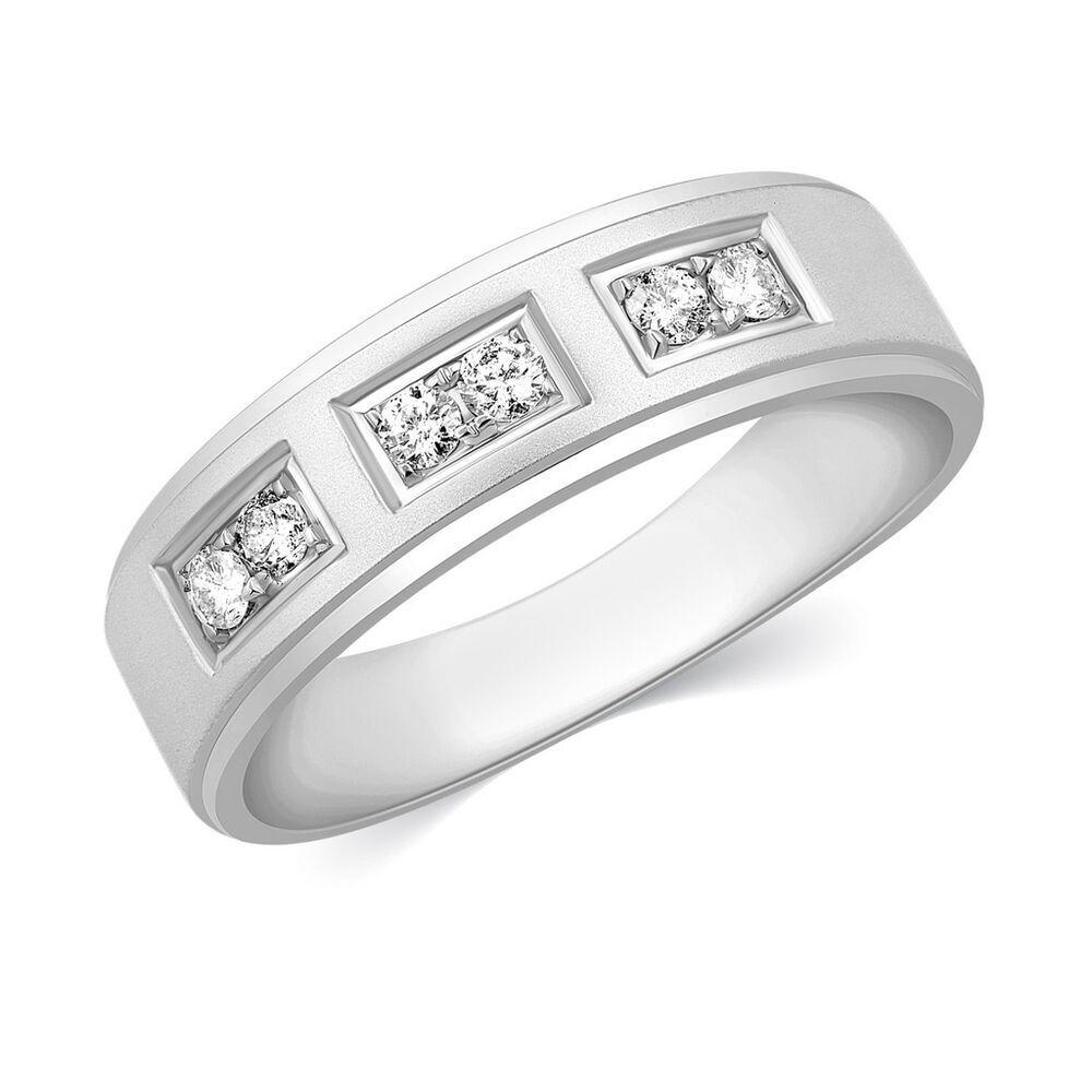 cb2d6085fc501 Mens Solid 10k White Gold Ring Real Natural Diamond Wedding Band ...