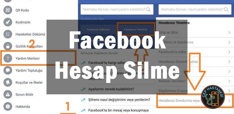 Facebook Hesap Silme Nasil Yapilir Cep Hastanesi Facebook Adlar