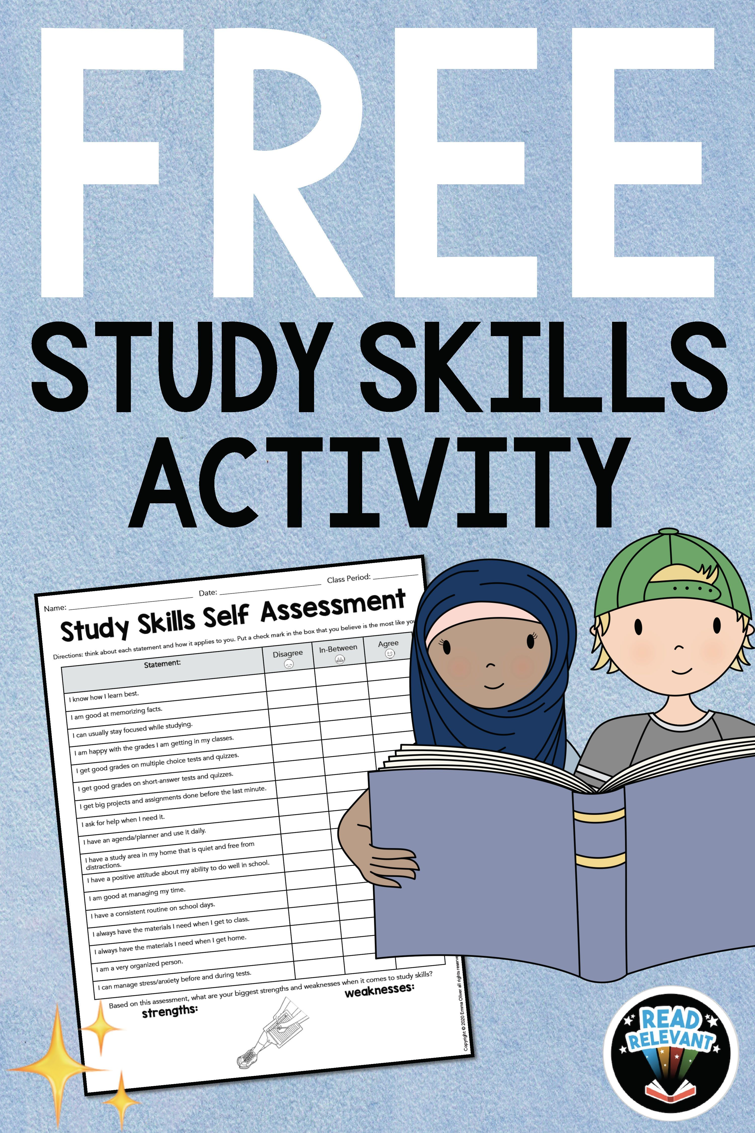 Free Study Skills Activity Self Assessment Worksheet