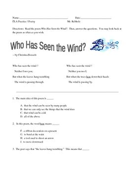 New York State Ela Practice Poetry Who Has Seen The Wind