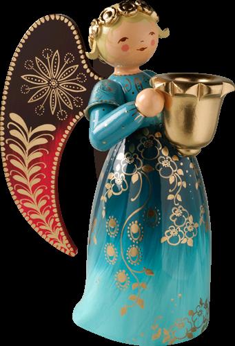 Grünhainichen Engel engel reich bemalt groß mit lichtnapf blau saksalaista