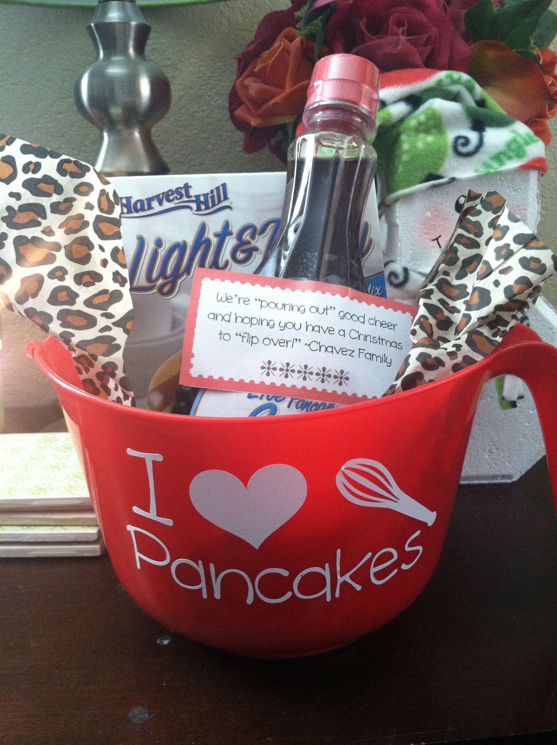 Pancake gift basket for neighbors dollar tree bowl, mix