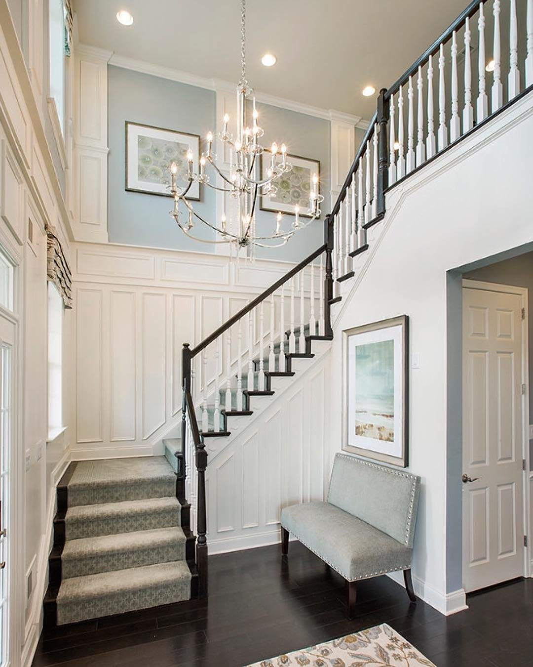 "Lighting Basement Washroom Stairs: ""Loving This Foyer & This Gorgeous Chandelier Designed By"