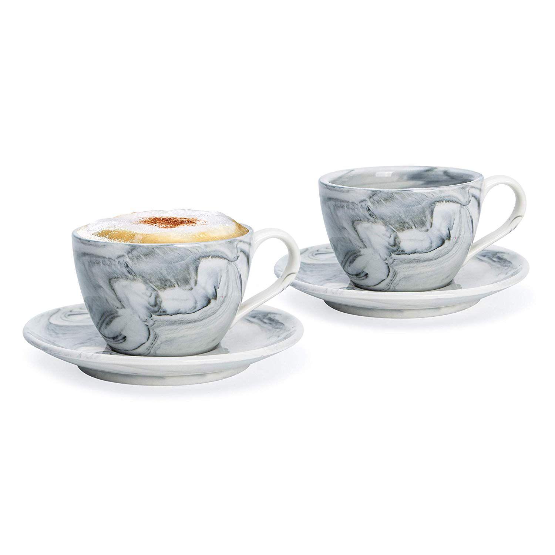 Hausmann Söhne Cappuccino Tassen Dickwandig 2er Set Schwarz Marmor Tassen Mit Untertasse Porzellan Tasse Cappuccino Cappuccino Tassen Porzellan Tasse