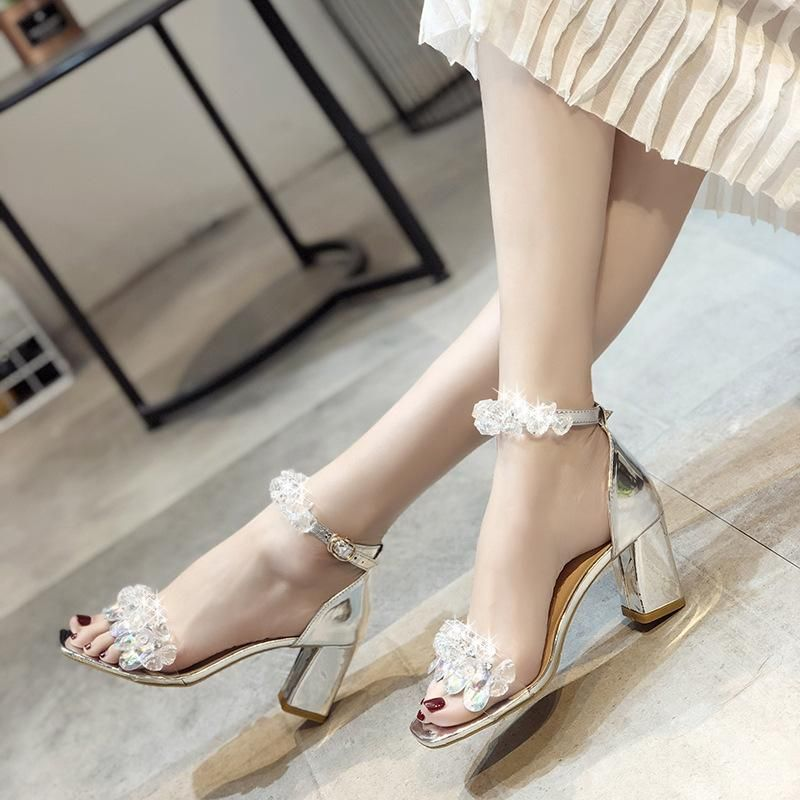 Nude Wide Fit Clear Strap Tie Square Toe High Sandal