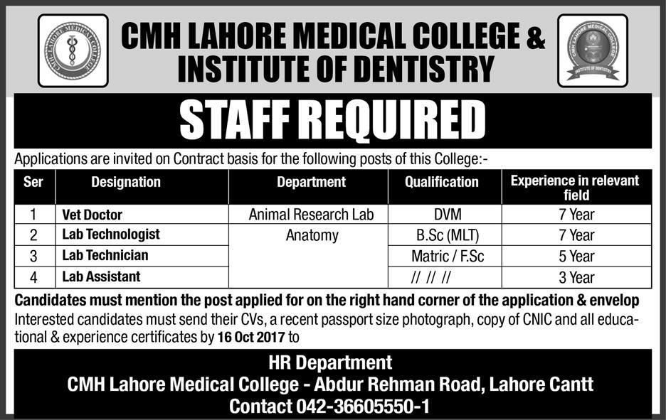 Medical College And Institute Of Dentistry Jobs  In Lahore For