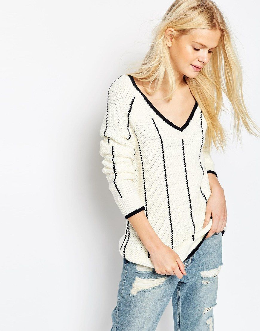 Image 1 of ASOS Cricket Sweater with V Neck and Tipping