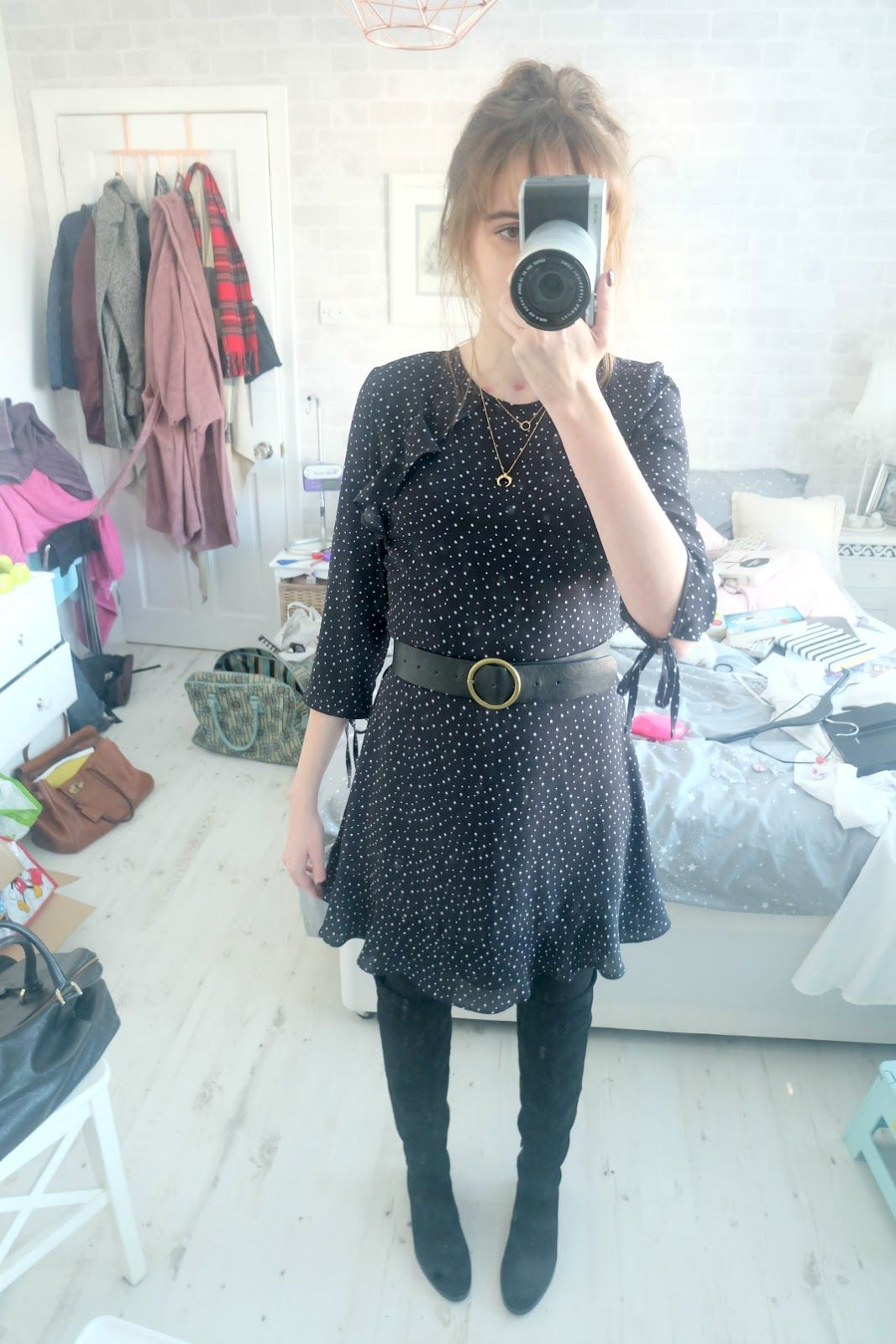 Star print dress over the knee boots my style pinterest star